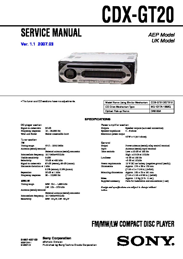 sony cdxgt20 service manual — view online or download