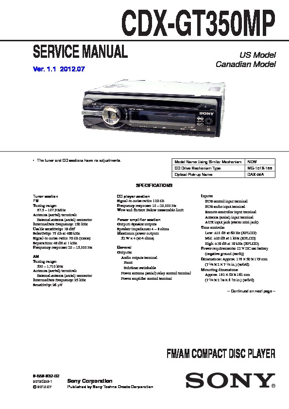 sony cdxgt350mp service manual — view online or download