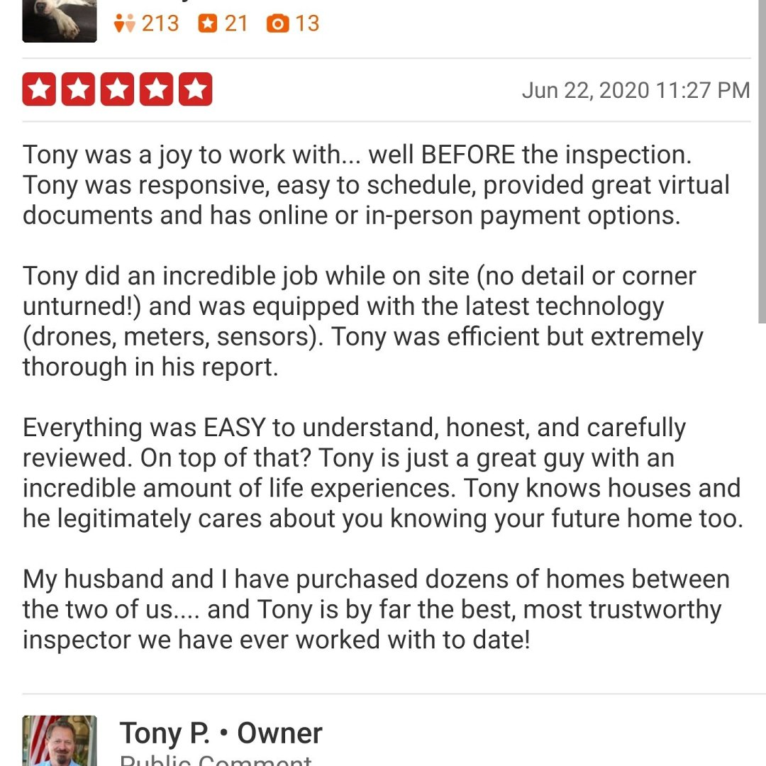 Another great home inspection review.
