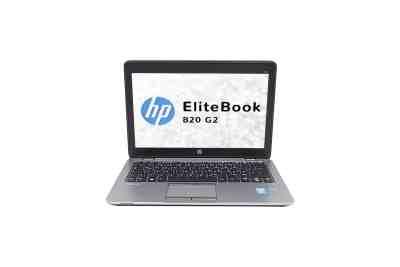Vue de face de l'ordinateur portable HP EliteBook 820 G2 avec l'écran, le clavier et le touchpad (pavé tactile).