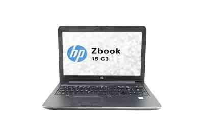 Modèle HP Zbook 15 G3 de la marque HP. Image montrant la face avant du pc avec l'écran, le clavier et le pavé tactile (touchpad).