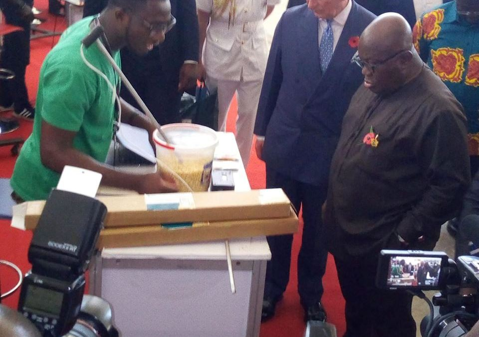 Showcasing GrainMate to Prince Charles and H.E. Nana Akuffo-Addo