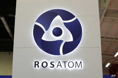 FILE - The logo of Russian state nuclear monopoly Rosatom is pictured at the World Nuclear Exhibition 2014, the trade fair event for the global nuclear energy sector, in Le Bourget, near Paris, Oct. 14, 2014.