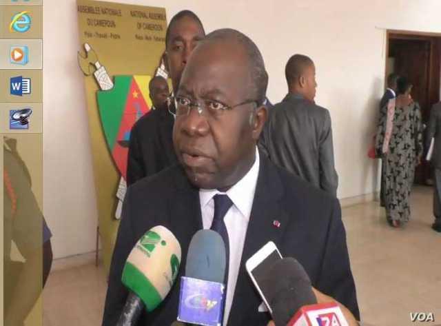 Geore Elanga Obam is Cameroon's Minister of Decentralization. (M. Kindzeka/VOA)
