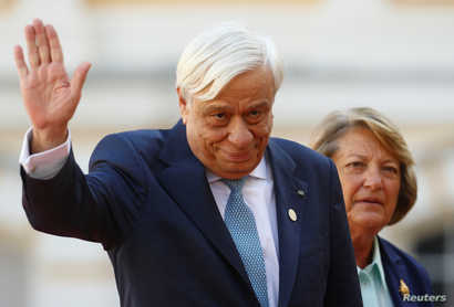 President of Greece Prokopis Pavlopoulos and his wife Vlassia Peltsemi arrive to the Arraiolos Group meeting at Rundale Palace,…