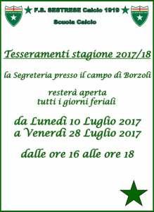 Tesseramenti stagione 2017/18