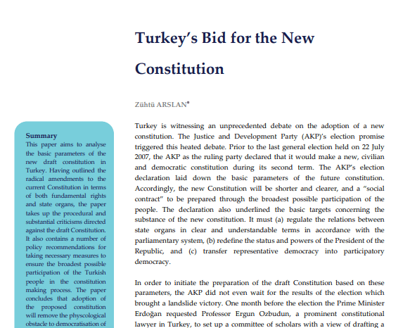 Turkey's Bid for the New Constitution