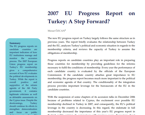 2007 EU Progress Report on Turkey: A Step Forward
