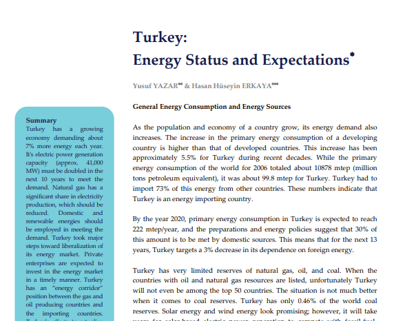 Turkey: Energy Status and Expectations