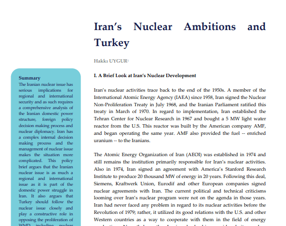 Iran's Nuclear Ambitions and Turkey