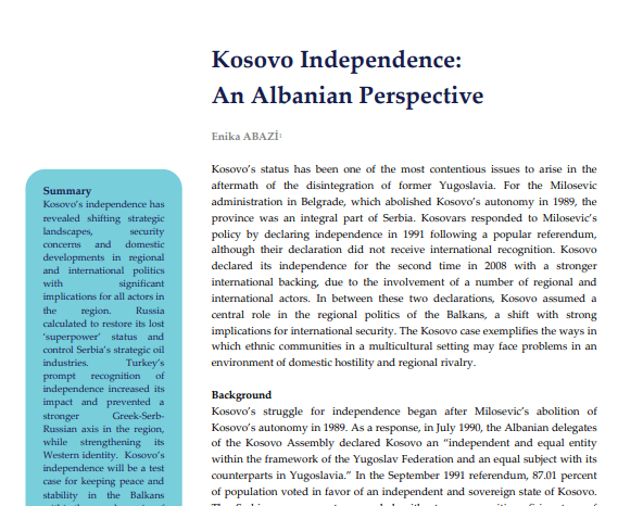 Kosovo Independence: An Albanian Perspective
