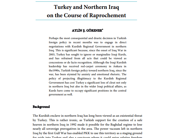Turkey and Northern Iraq on the Course of Raprochement