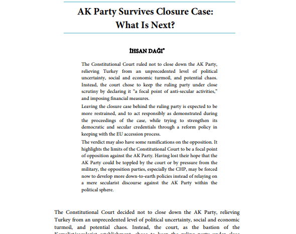 AK Party Survives Closure Case: What is Next?