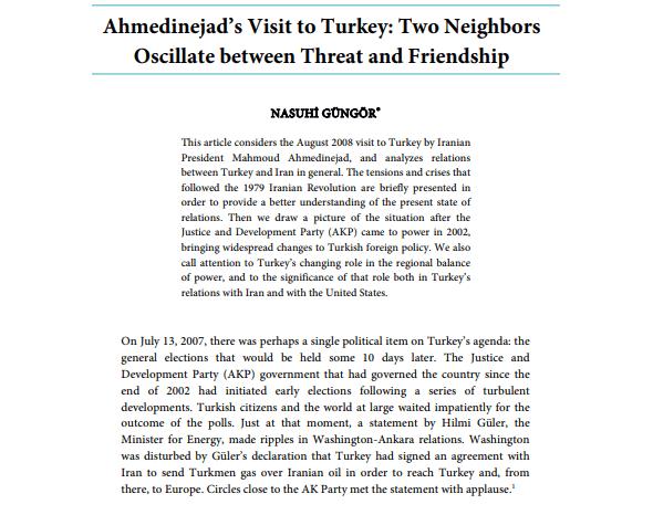 Ahmedinejad's Visit to Turkey