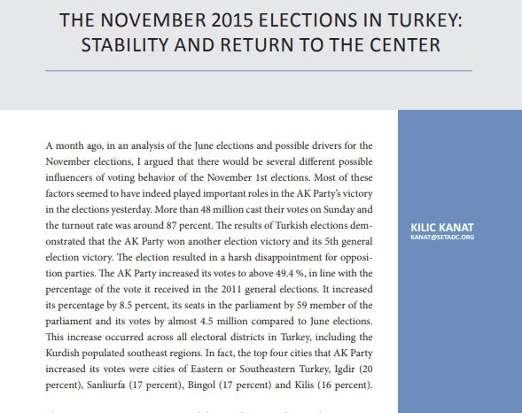 The November 2015 Elections in Turkey: Stability and Return to the Center