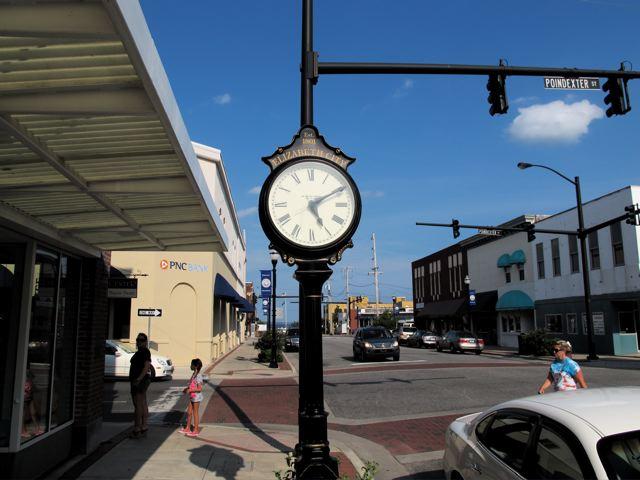 Clock in downtown Elizabeth City