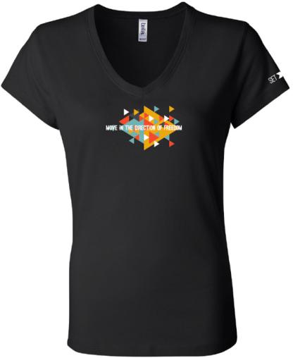 6005F black set free movement bydfault t-shirt front