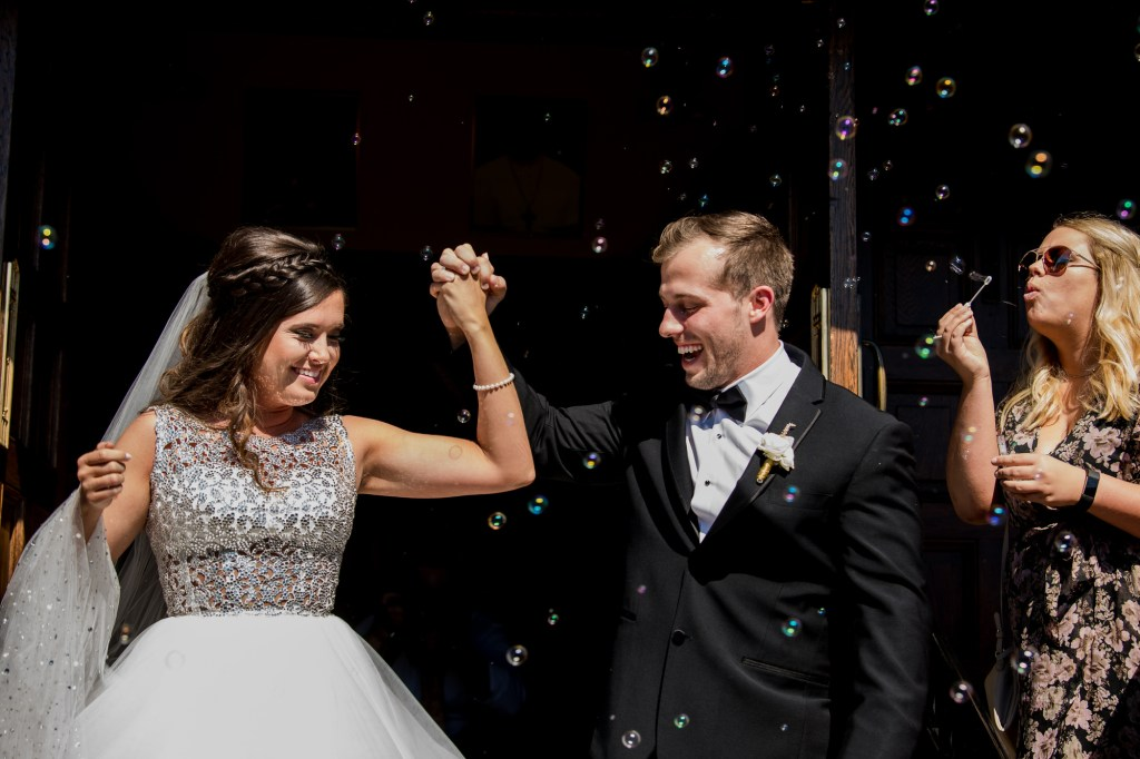 celebrating at Summer Westin Wedding Columbus