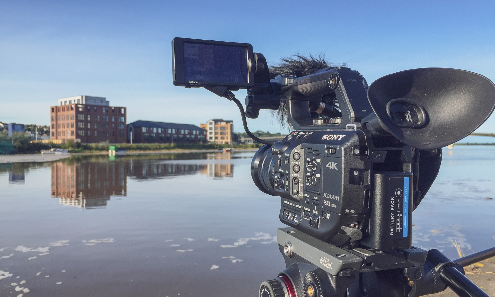 We film on professional Sony broadcast cameras like this one pictured here by the River Taw in Barnstaple