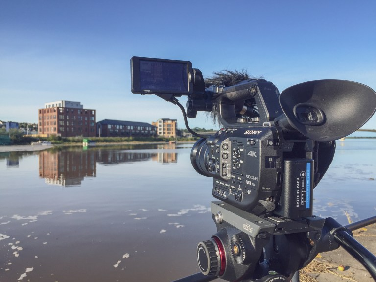 Our cameras filming the Taw Wharf development in Barnstaple