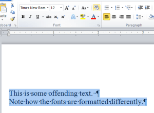 Word Not Formatted Text