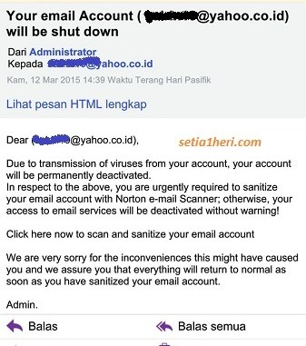 Awas phishing email : Your email account will be shut down