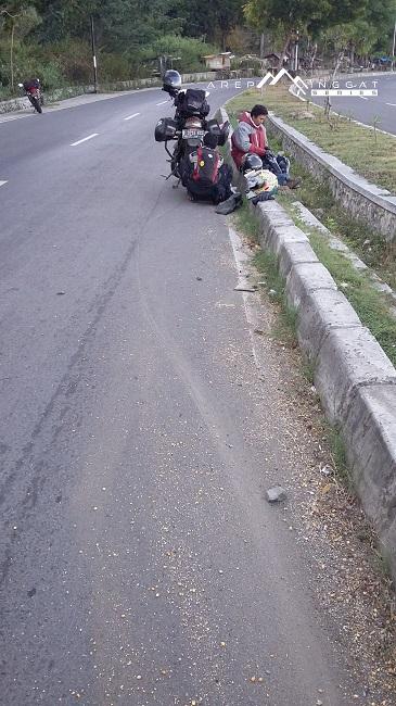 sudden brake scorpio di lombok, NTB