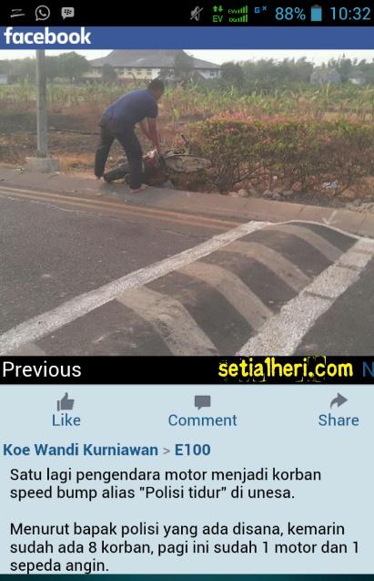 motor jatuh akibat polisi tidur terlalu tinggi di Unesa Lidah Wetan