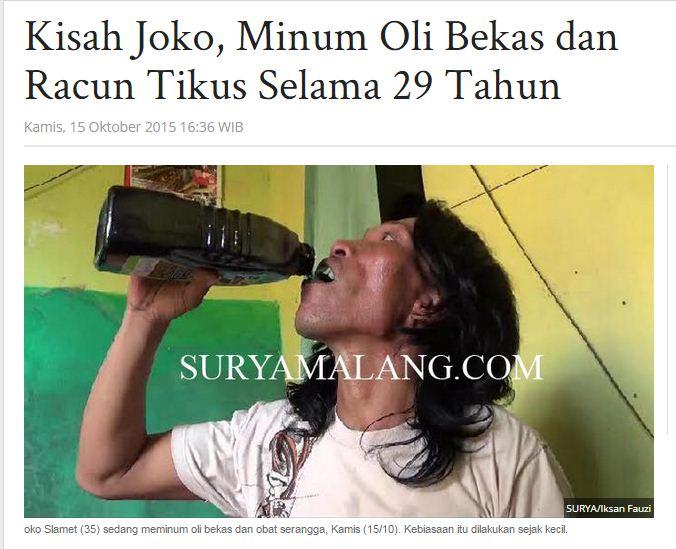 Joko Slamet pemuda peminum oli bekas dari Tuban, jawa Timur