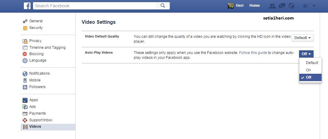 cara matiin auto play video di facebook