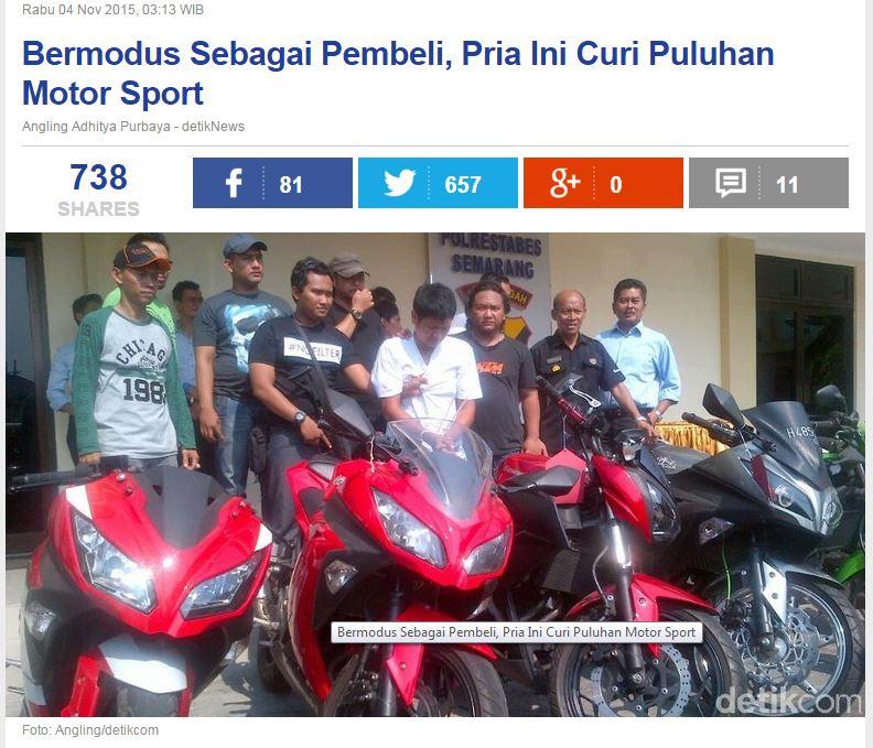 Pencurian motor sport moge dengan modus pura-pura beli motor di Semarang