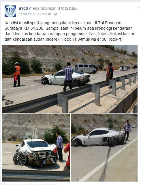 kecelakaan mobil mewah porsche cayman di tol gempol pasuruan tanggal 17 November 2015