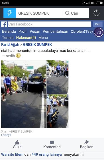 pelajar SMK Al Azhar menganti kecelakaan di Cerme Gresik