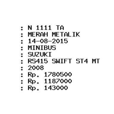 plat nopol N 1111 TA punya suzuki swift 2008