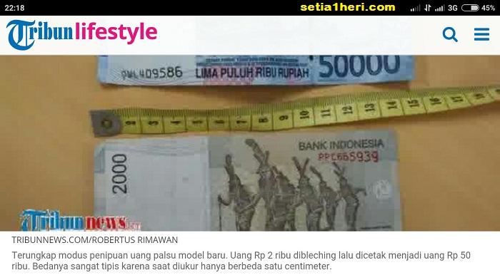 uang palsu pecahan Rp50000 hasil bleaching di sumatera selatan tahun 2015