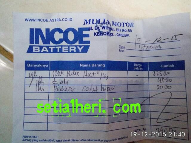 nota bengkel Mulia Motor Gresik tahun 2015