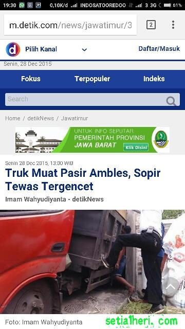 sopir truk pasir asal lumajang tewas di Surabaya tanggal 28 Desember 2015