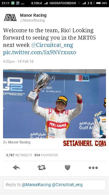 Rio Haryanto siap berlaga di formula 1 musim tahun 2016