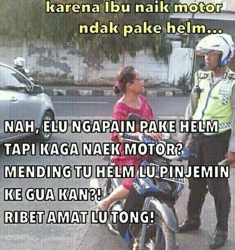 cara cari alasan ketika ditilang polisi tidak memakai helm~01