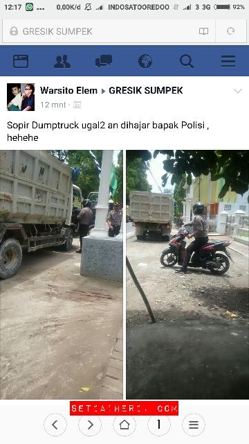 sopir dumptruk dihajar polisi di sedayu gresik pada tanggal 27 Pebruari 2016