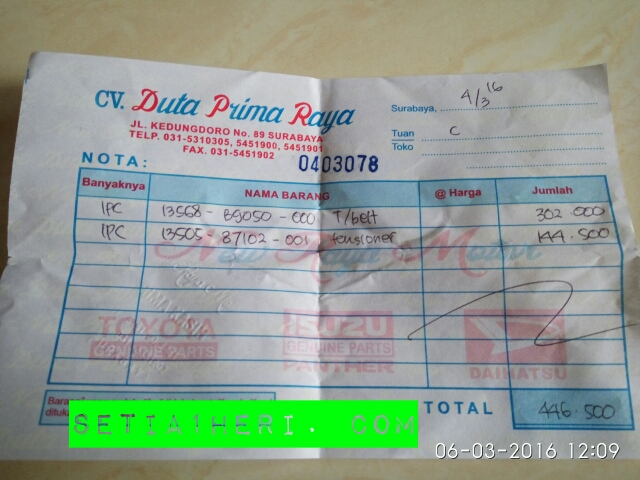 harga Timing Belt dan Tensioner Daihatsu Taruna tahun 2016