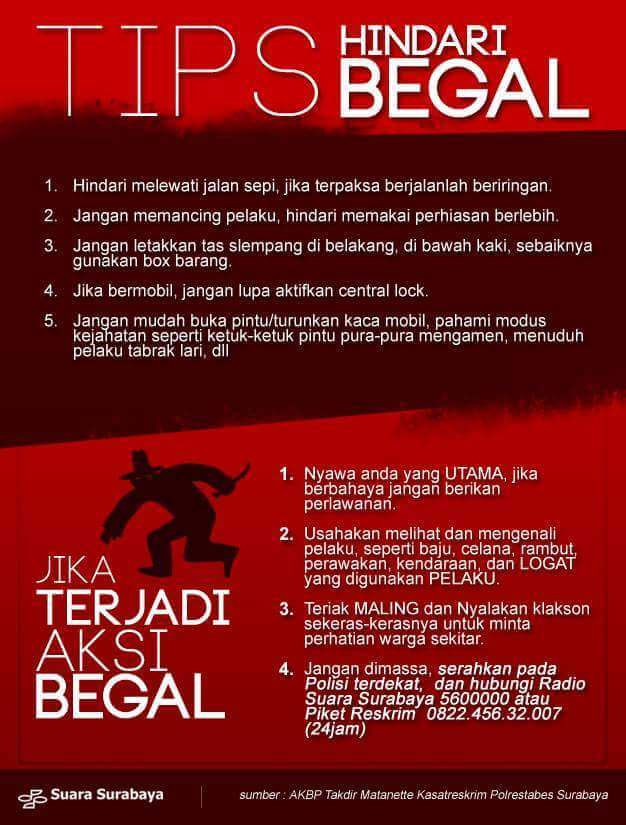 Tips hindari begal menurut Kasatreskrim Polrestabes Surabaya AKBP Takdir Matanette tahun 2016