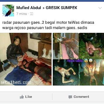 begal motor di massa hingga tewas di rejoso Grati Pasuruan hari Minggu tanggal 17 April 2016