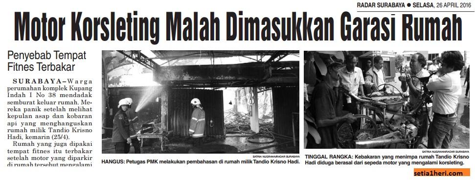 kebakaran rumah akibat motor konsleting