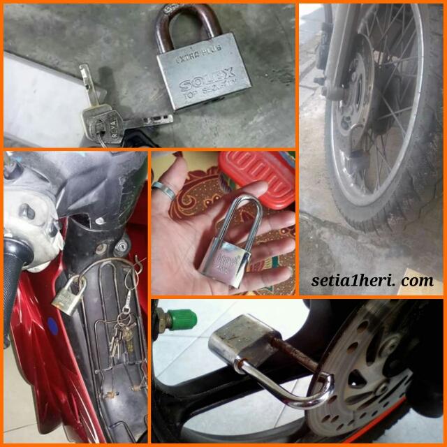 kunci gembok pada rem cakram dan rantai agar aman dari kemalingan atau pencurian