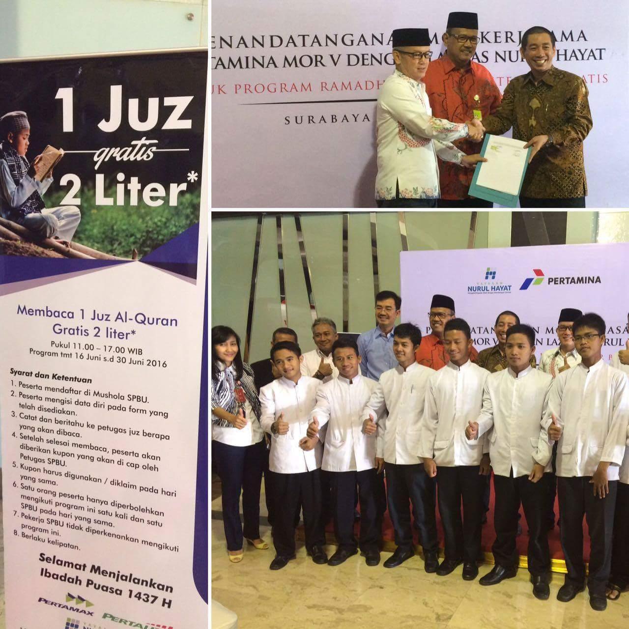 Program 1 juz 2 liter di Jawa Timur tahun 2016