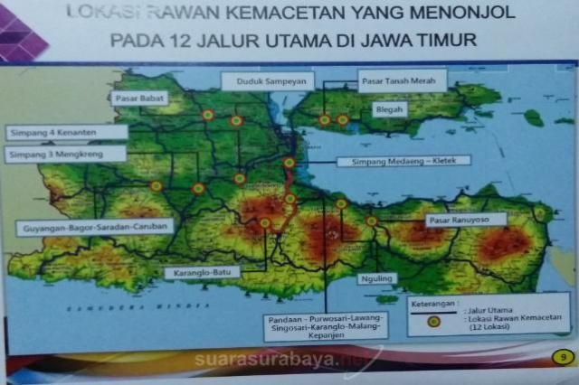 data 12 titik jalur utama rawan kemacetan di Jawa Timur 2016