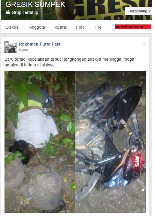 kecelakaan satria fu di tikungan waduk suci manyar gresik hari minggu 24 juli 2016