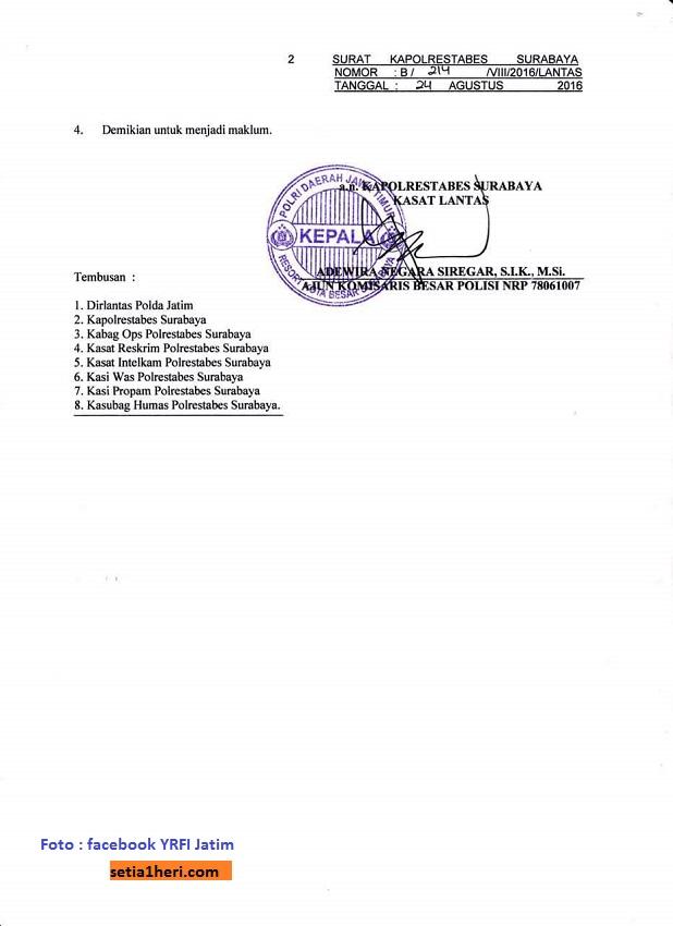 surat himbauan kasatlantas surabaya untuk forum biker suroboyo dan biker di kota pahlawan tanggal 24 agustus 2016 (2)