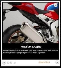 titanium muffler honda cbr1000rr fireblade tahun 2017